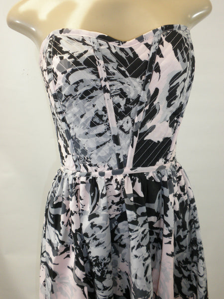 Aqua Pink, Gray, And Black Strapless Mini Dress - Size XS, S, M, L - New With Tags