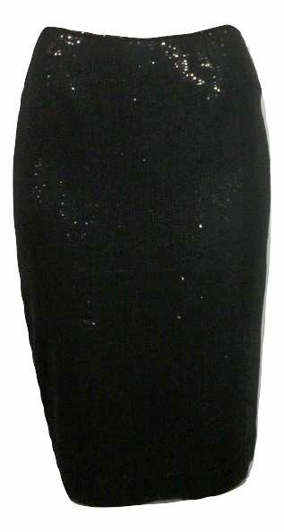 Lafayette 148 Black Sequin Skirt With Slit In Back - Size 2 - Donated From The Designer
