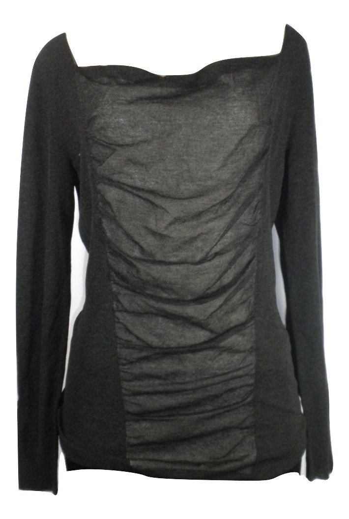 Lafayette 148 Dark Grey Long Sleeve Ruched Top  - Size Small - Donated From The Designer