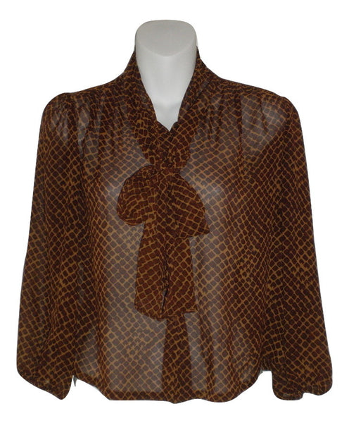Rachel Roy Brown Patterned Tie Neck Chiffon Top- Size Small