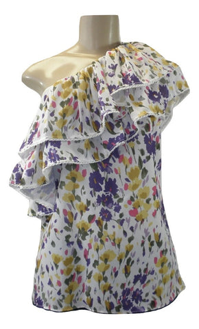 Saks Fifth Avenue One Shoulder Floral Ruffled Top - Size XS, S, M, L - New with tags - The Fashion Foundation