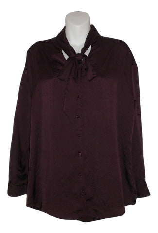 Express Eggplant Button-down Blouse With Tie Neck- Size Extra Small