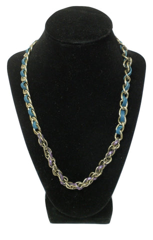 Chloe and Isabel Copper Chain Necklace with Purple and Blue Leather