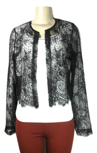 Lafayette 148 Long Sleeve Black Lace Jacket - Size 4 - The Fashion Foundation