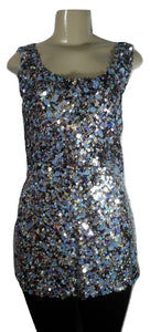 Lafayette 148 Blue Toned Sequined Top - Size 8 - Donated From The Designer