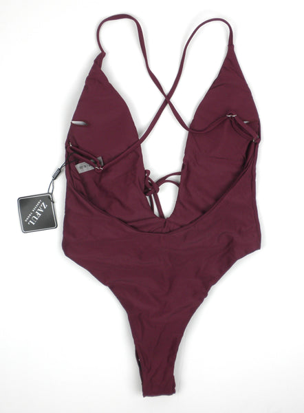 Zaful Maroon One Piece Bathing Suit - Size Small