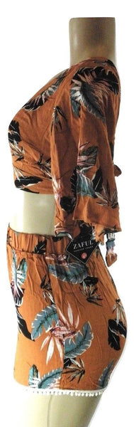 Zaful Burnt Orange Floral Matching Set - Size Small - Donated From Designer - The Fashion Foundation