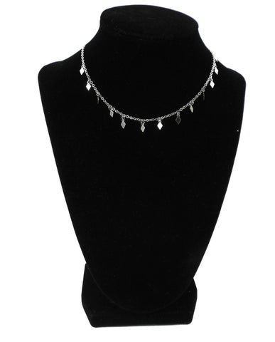 Silver Necklace with Rhinestone Metal Accents