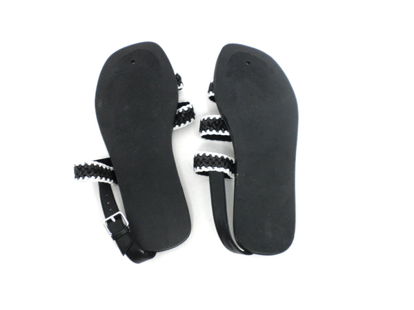Faryl Robin Black and White Woven Sandals - Size 6 - The Fashion Foundation