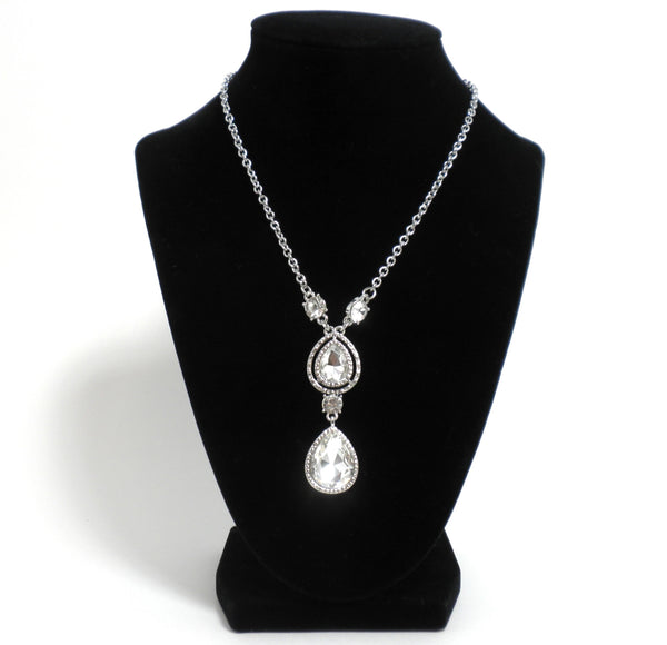 Silver Rhinestone Double Raindrop Necklace - Donated From Designer - The Fashion Foundation