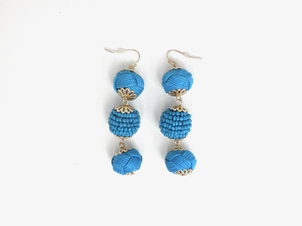 Blue Dangling Earrings with 3 Beaded and Knotted Circles
