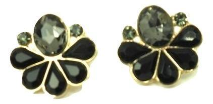 Floral Shaped Black and Green Gemstone Earrings