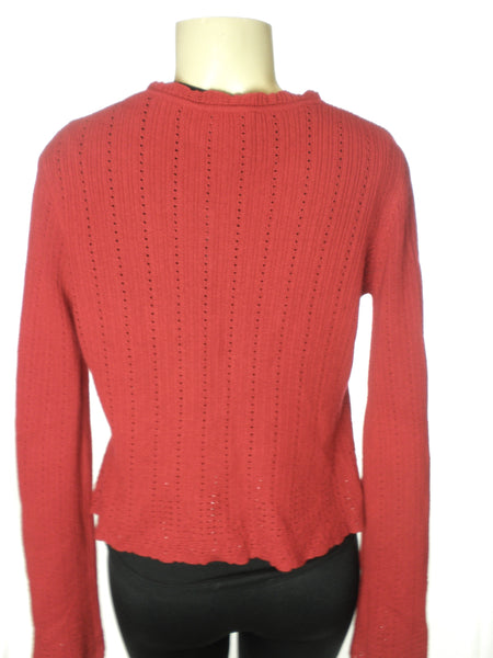 Carmen Marc Valvo Red Bell Sleeved Cardigan - Size Small - New With Tags - The Fashion Foundation