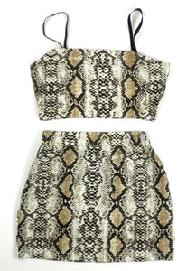 Zaful Brown Snakeskin Fitted Skirt Set - Small - The Fashion Foundation - {{ discount designer}}
