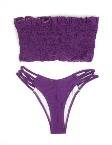 Zaful Purple Smocked Bikini - Medium