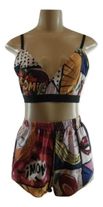 Zaful Comic Book Shorts Set - Small - Donated From The Designer - The Fashion Foundation