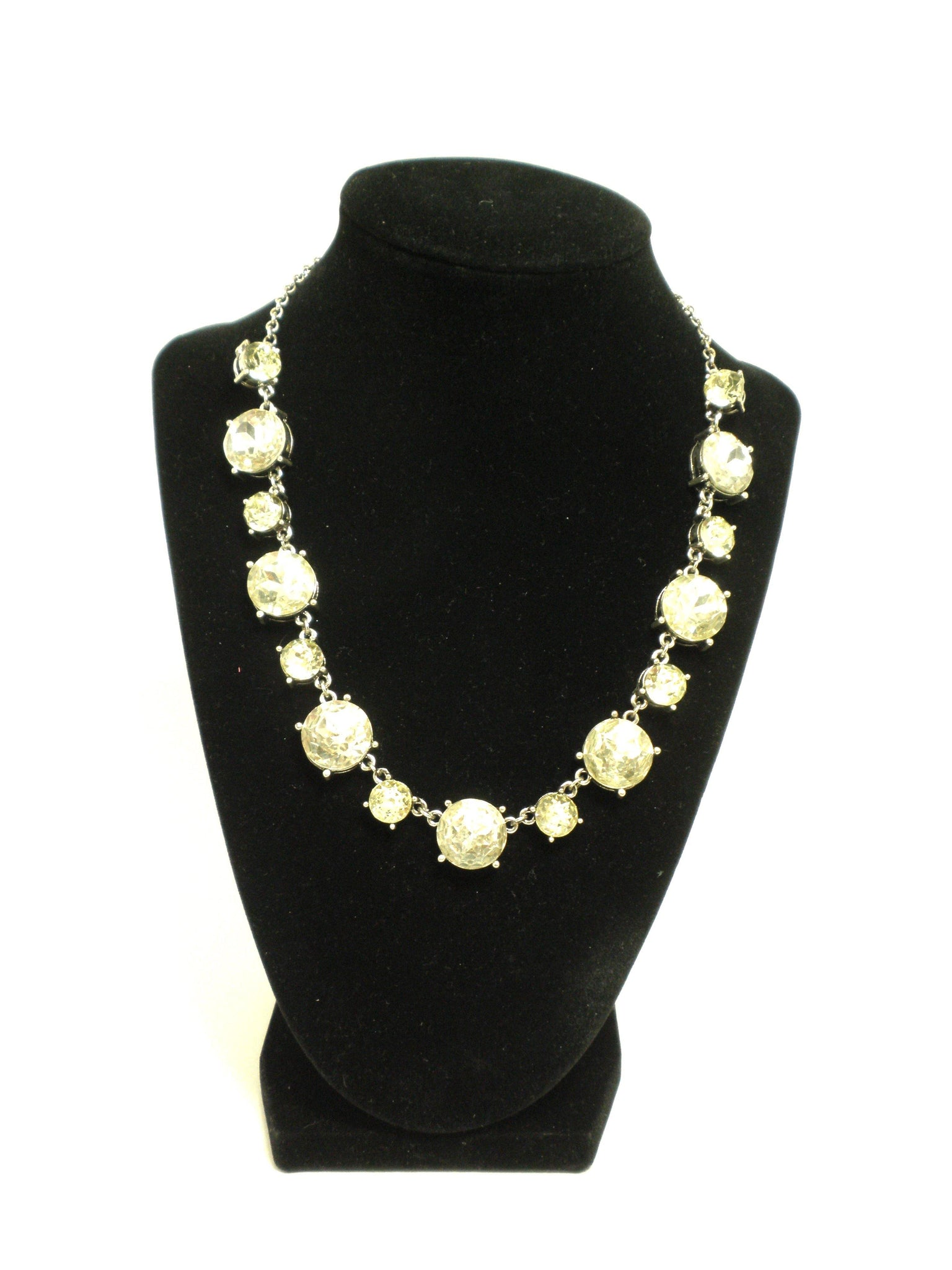 Gold Necklace with Light Green Gems