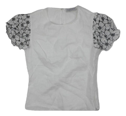 Minan Wong White Top with Floral Sleeve - Extra Small