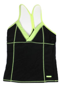 Avia Black and Neon Yellow Bathing Suit Top - Medium - The Fashion Foundation
