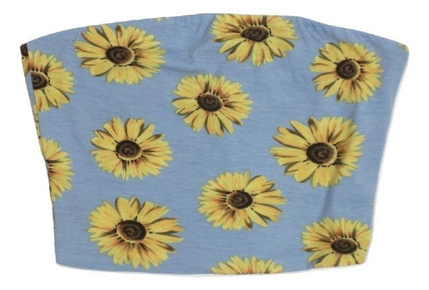 Zaful Baby Blue and Sunflower Print Tube Top - Medium