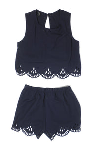 Zaful Navy Blue Scalloped Shorts Set - Size Small and Medium - The Fashion Foundation - {{ discount designer}}