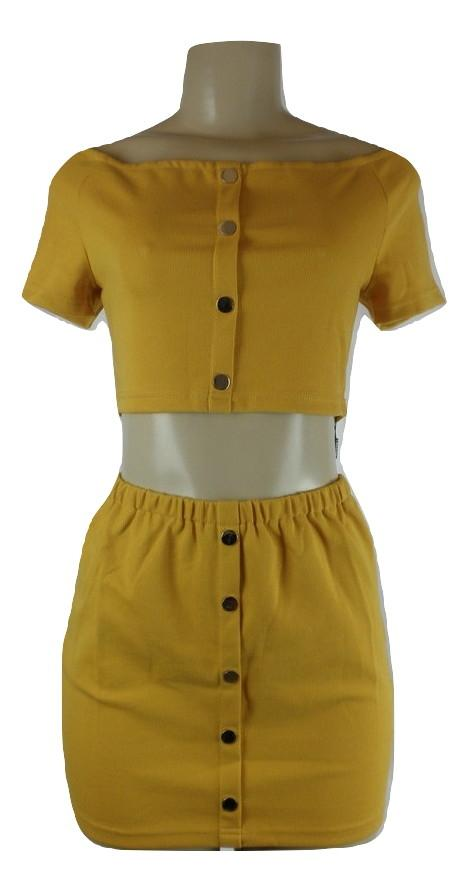 Zaful Yellow Stretch Skirt Set - Size Large - Donated From The Designer - The Fashion Foundation