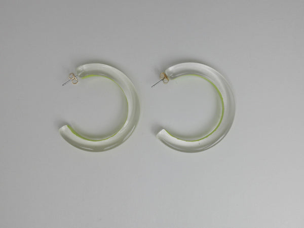 Yellow and Translucent Hoop Earrings