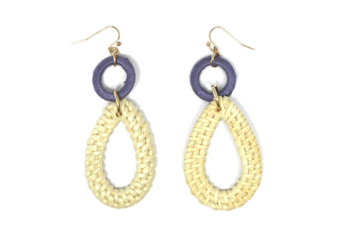 Purple and Cream Basket Textured Dangly Earrings