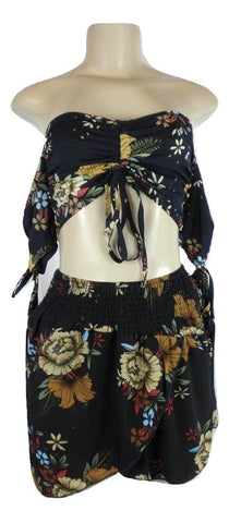 Zaful Navy Blue Floral Print Short Set - Small and Medium - Donated From The Designer - The Fashion Foundation