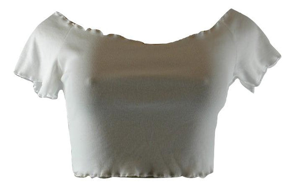 Zaful White Ruffle Crop Top - Small - Donated From Designer - The Fashion Foundation