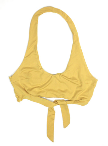 Zafull Yelow Crop Top with Tie - Medium