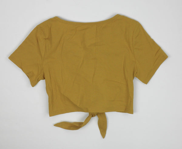Zaful Yellow Tie Front Tee - Small