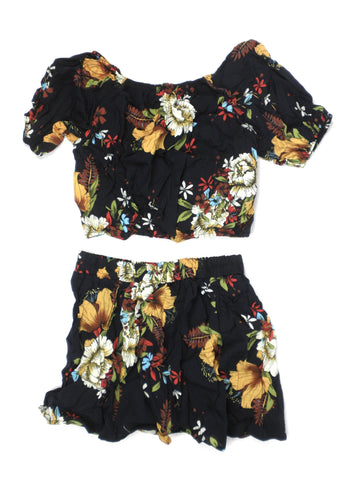 Zaful Navy Blue Floral Short Set - Small