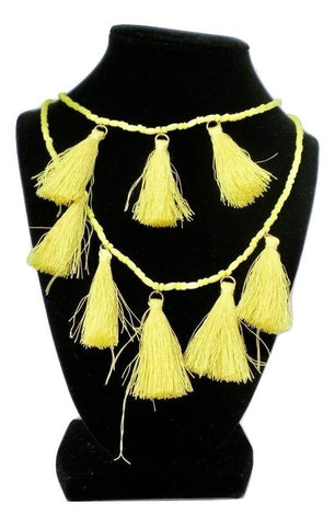 Yellow Beaded Layered Necklace with Tassels