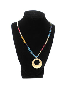 Gold Long Colorful Beaded Necklace