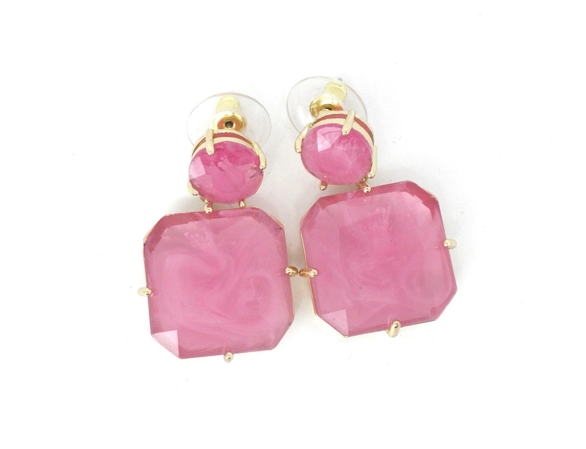Fuchsia and Gold Dangly Earrings