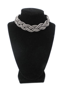 Metallic Gunmetal Braided Necklace
