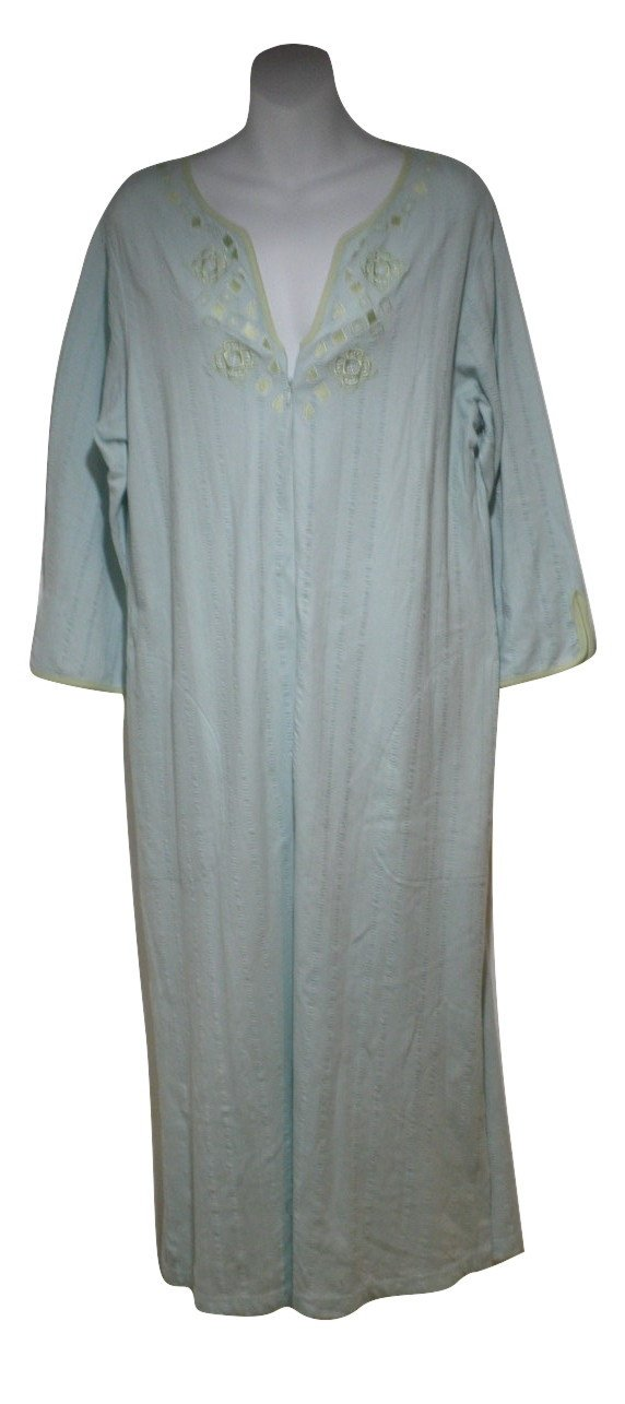 Stan Herman Light Green Embroidered Zip Robe - Size Small