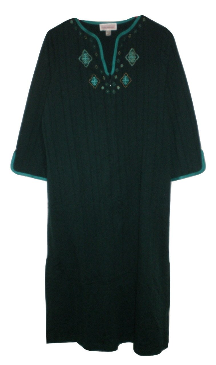 Stan Herman Emerald Green Embroidered Zip Robe - Size Small - The Fashion Foundation