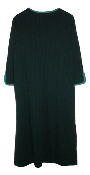 Stan Herman Emerald Green Embroidered Zip Robe - Size Small