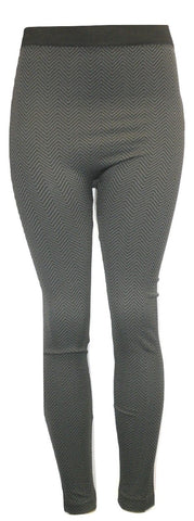 Black and Grey Chevron printed Leggings - Size M/L - The Fashion Foundation