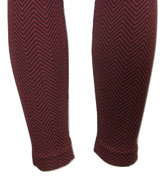 Black and Red Chevron printed Leggings - Size L/XL - The Fashion Foundation