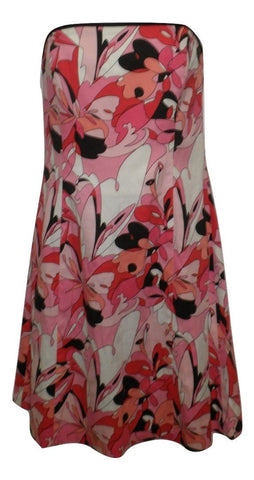 Robin Jordan Pink Floral Strapless Dress - Size 6 - The Fashion Foundation