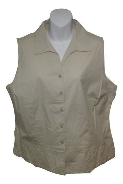 Croft & Barrow Beige Sleeveless Top - Extra Large Petite - New With Tags
