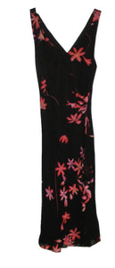 Janique Black and Pink Floral Dress - Size Small