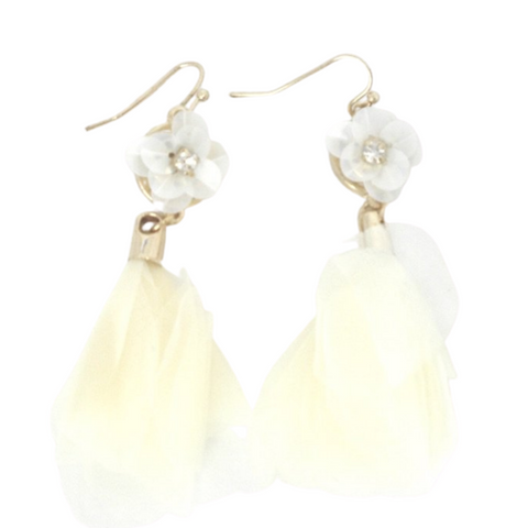 Gold and White Fabric Floral Earrings