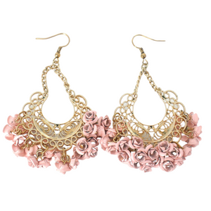 Gold Dangly Earrings with Pink Flowers
