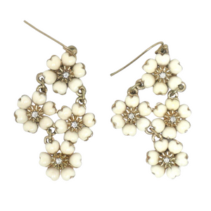 Gold and Cream Floral Dangly Earrings