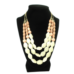 Beaded Necklace with Pink and White - The Fashion Foundation - {{ discount designer}}