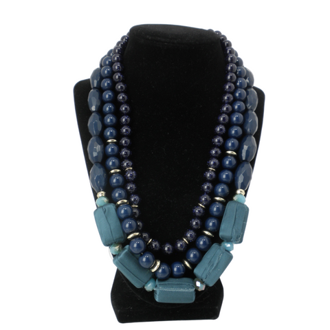 Navy Blue Layered Beaded Statement Necklace